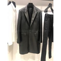 CELINE Unisex Plain Leather Long Chester Coats