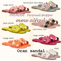 HERMES Oran Casual Style Plain Leather Shower Shoes Logo Flat Sandals