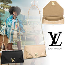 Louis Vuitton Blended Fabrics 2WAY Chain Plain Leather Party Style