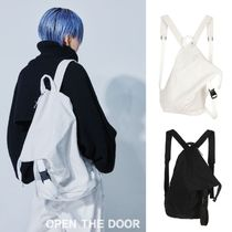 OPEN THE DOOR Casual Style Unisex Street Style A4 2WAY Plain Backpacks