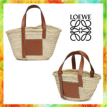 LOEWE Blended Fabrics Street Style Plain Leather Straw Bags
