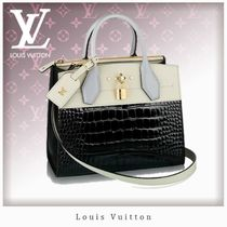 Louis Vuitton CITY STEAMER Crocodile Blended Fabrics Bi-color Handbags