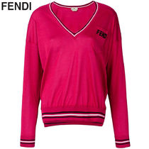 FENDI Stripes Casual Style Silk V-Neck Long Sleeves Plain Medium