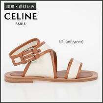 CELINE Open Toe Casual Style Blended Fabrics Plain Leather Sandals