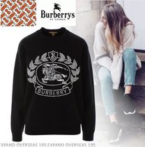 Burberry Casual Style Street Style U-Neck Long Sleeves Sweaters