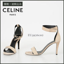 CELINE Open Toe Suede Plain Pin Heels Party Style Heeled Sandals