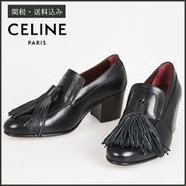 cc34c5e8cf3 CELINE Plain Leather Block Heels Fringes Elegant Style Bold
