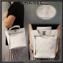 CHANEL ICON Calfskin 3WAY Chain Plain Elegant Style Totes