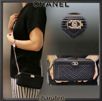CHANEL BOY CHANEL Calfskin 3WAY Chain Plain Elegant Style Shoulder Bags