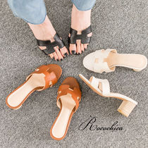 Open Toe Casual Style Plain Leather Heeled Sandals