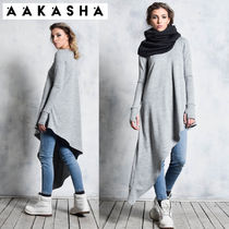 Aakasha Long Sleeves Plain Cotton Long Handmade Tunics