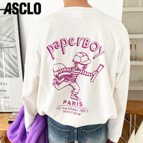 ASCLO Crew Neck Unisex Street Style Long Sleeves Cotton Oversized