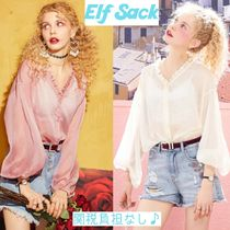 ELF SACK Casual Style Chiffon Street Style Long Sleeves