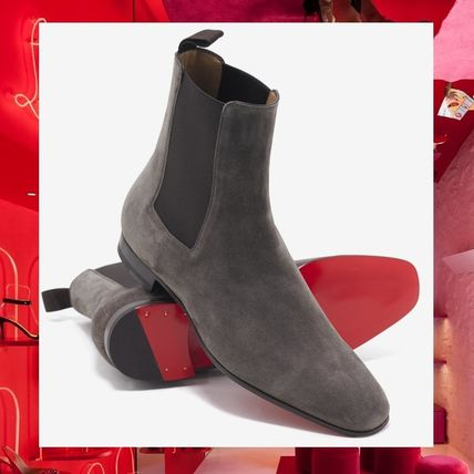 new product 62af5 ce5eb Christian Louboutin Suede Street Style Plain Chelsea Boots Chelsea Boots