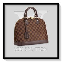Louis Vuitton ALMA Other Check Patterns Casual Style Canvas Blended Fabrics A4