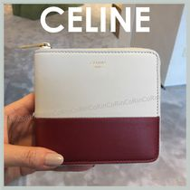 CELINE Zipped Lambskin Bi-color Plain Folding Wallets