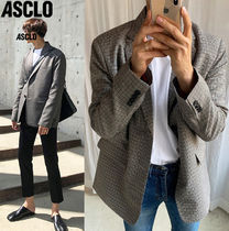 ASCLO Other Check Patterns Unisex Street Style Oversized