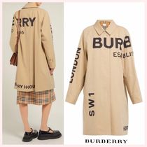 Burberry Stand Collar Coats Casual Style Street Style Long Coats