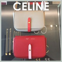 CELINE Strap Calfskin Bi-color Plain Shoulder Bags