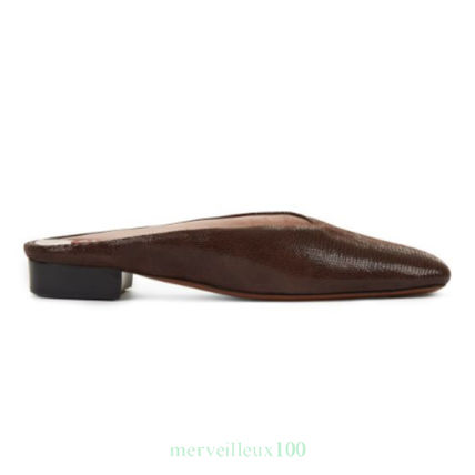 Round Toe Plain Leather Elegant Style Slippers Sandals