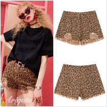 ELF SACK Short Leopard Patterns Casual Style Street Style Cotton