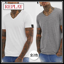 REPLAY Street Style V-Neck Plain Cotton Short Sleeves