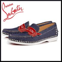Christian Louboutin Moccasin Blended Fabrics Street Style Leather