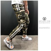 Stripes Camouflage Street Style Cotton Cargo Pants