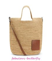 LOEWE 2WAY Leather Straw Bags