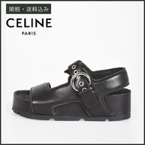 CELINE Open Toe Rubber Sole Casual Style Plain Leather