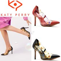 Katy Perry Flower Patterns Blended Fabrics Pin Heels Party Style