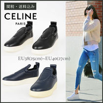 CELINE Platform Round Toe Casual Style Plain Leather Slip-On Shoes