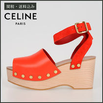 CELINE Open Toe Casual Style Blended Fabrics Studded Plain Leather