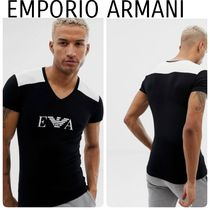 EMPORIO ARMANI V-Neck Plain Short Sleeves V-Neck T-Shirts