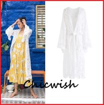 Chicwish Casual Style Long Lace Gowns Puff Sleeves Cardigans