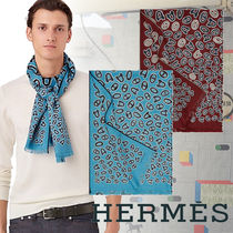 HERMES Wool Blended Fabrics Street Style Fringes Accessories