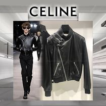CELINE Short Unisex Street Style Plain Leather Biker Jackets
