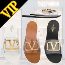 VALENTINO Open Toe Casual Style Unisex Leather Sandals