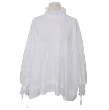 Shirts & Blouses Lace-up Casual Style Street Style Plain Cotton Medium 16