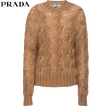 PRADA Crew Neck Cable Knit Casual Style Long Sleeves Medium
