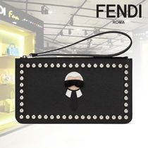 FENDI KARLITO Studded Leather Pouches & Cosmetic Bags