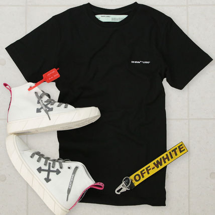 Off-White Crew Neck Crew Neck Pullovers Street Style Plain Cotton Short Sleeves