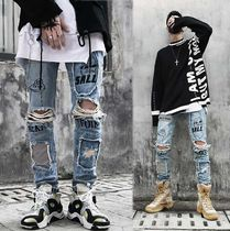 Printed Pants Denim Street Style Oversized Patterned Pants