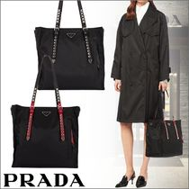 PRADA Unisex Nylon Studded 2WAY Plain Totes