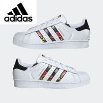 adidas SUPERSTAR Flower Patterns Plain Toe Rubber Sole Casual Style Unisex