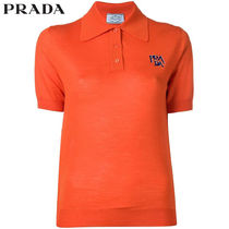 PRADA Casual Style Wool Plain Medium Short Sleeves Polo Shirts