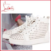 Christian Louboutin Blended Fabrics Studded Plain Leather Sneakers