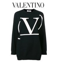 VALENTINO Crew Neck Casual Style Long Sleeves Oversized Sweaters