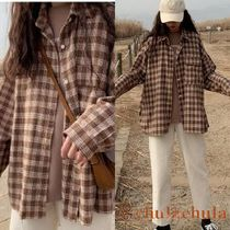 Other Check Patterns Long Sleeves Shirts & Blouses