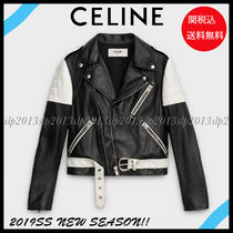 CELINE Short Unisex Blended Fabrics Plain Leather Biker Jackets